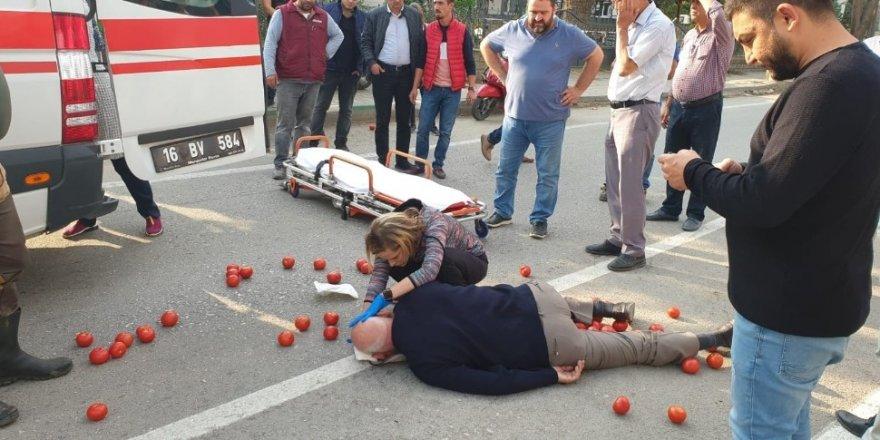 Kask takmayan motosiklet sürücüsü başından yaralandı