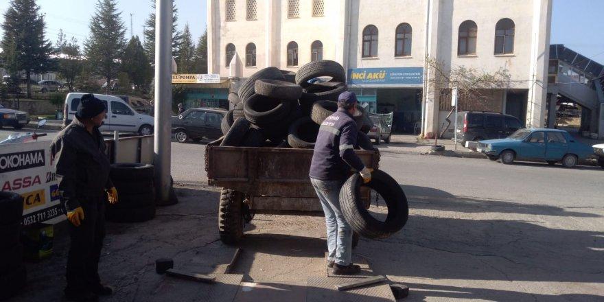 Beyşehir'de atık lastikler toplanıyor