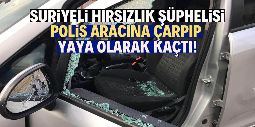 Polis aracına çarpıp yaya olarak kaçtı!