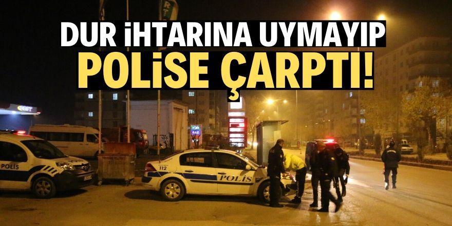 Konya'da uygulama yapan polise otomobil çarptı
