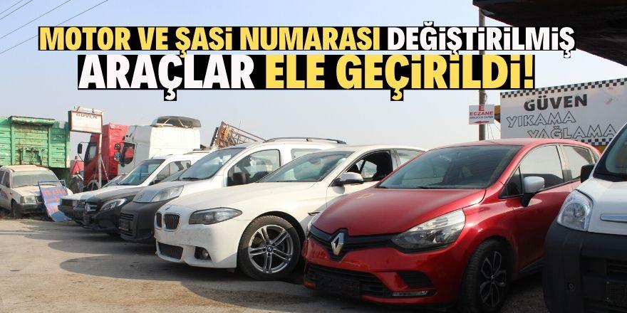 Konya'da change yapılmış 7 araç ele geçirildi!