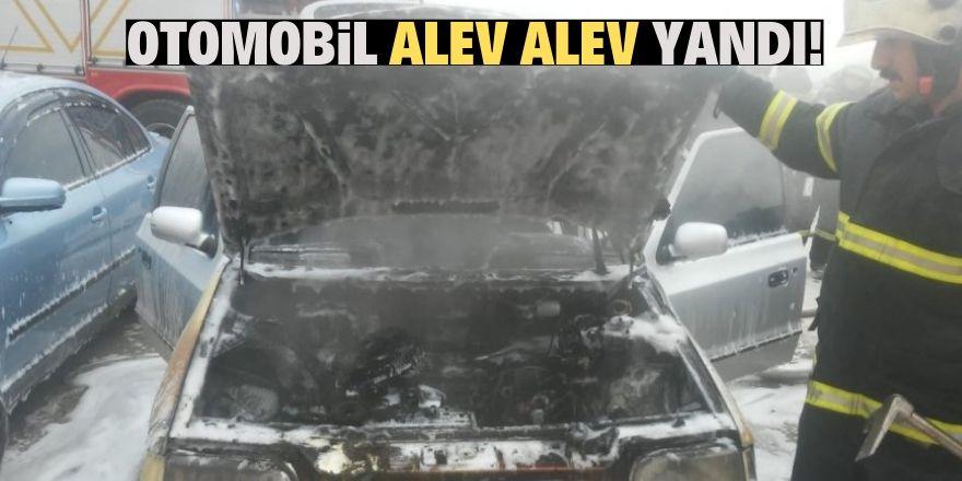 Otoparkta duran otomobil yandı