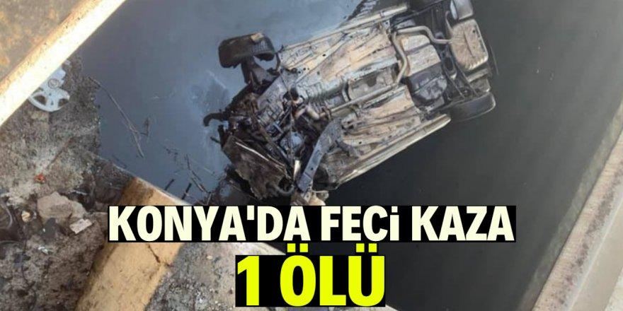 Konya'da kontrolden çıkan otomobil kanala uçtu: 1 ölü
