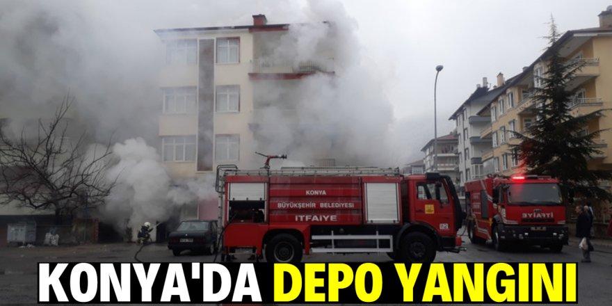Konya'da depo yandı
