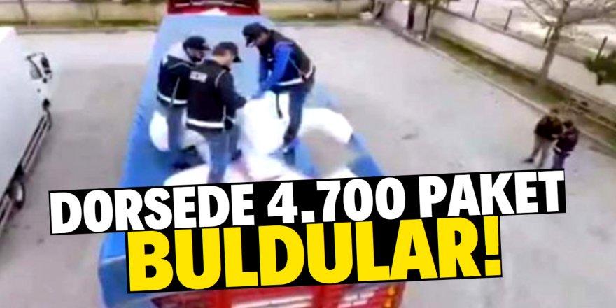 Tır dorsesine gizlenen 4 bin 700 paket kaçak sigara bulundu