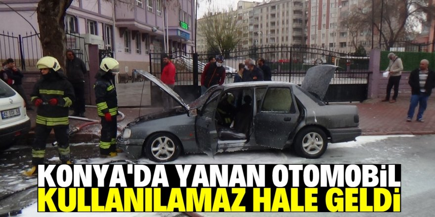 Konya'da seyir halindeki otomobil yandı