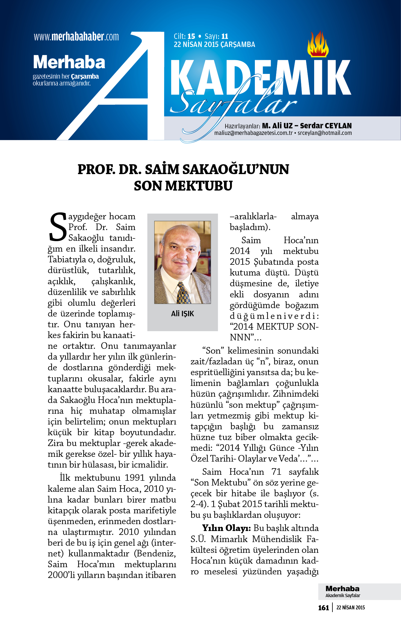Cilt-15, Sayı-11, 22 Nisan 2015