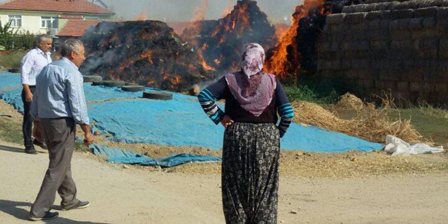 Akşehir'de saman yangını