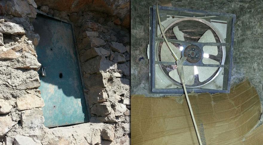 Hakkari'de PKK'nın çelik kapılı, fanlı mağarası