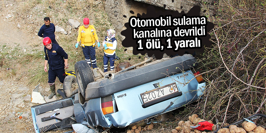 Otomobil sulama kanalına devrildi: 1 ölü, 1 yaralı