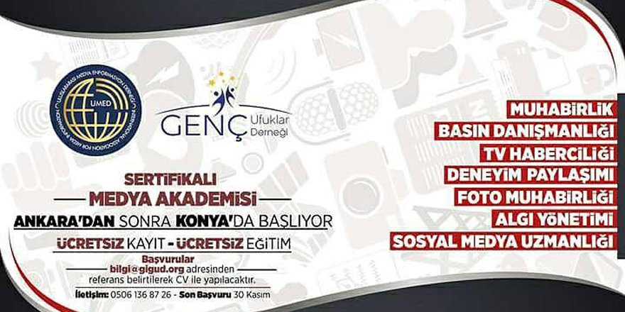 Konya'da medya akademisi başlıyor