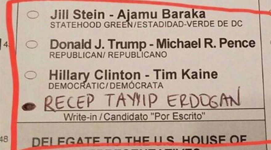 ABD'deki başkanlık seçiminden Erdoğan'a da oy çıktı!