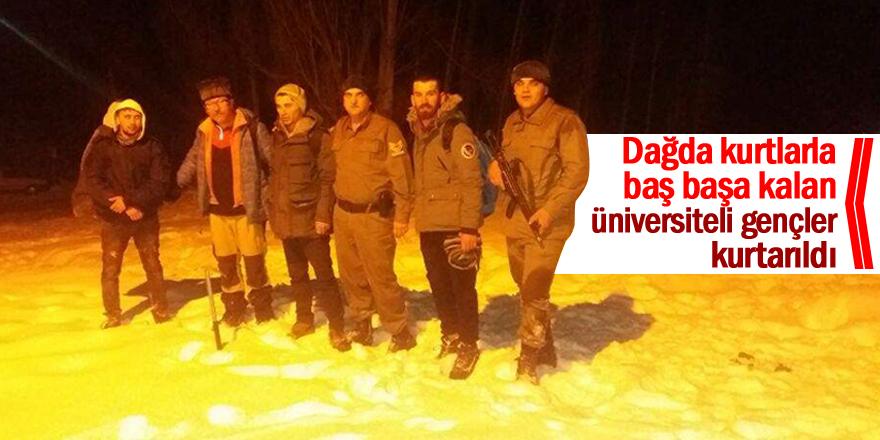 Dağda kurtlarla baş başa kalan üniversiteli gençler kurtarıldı