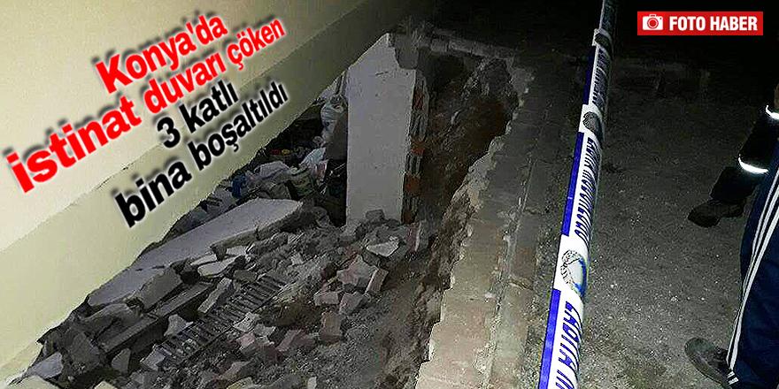 Duvar çökünce bina boşaltıldı