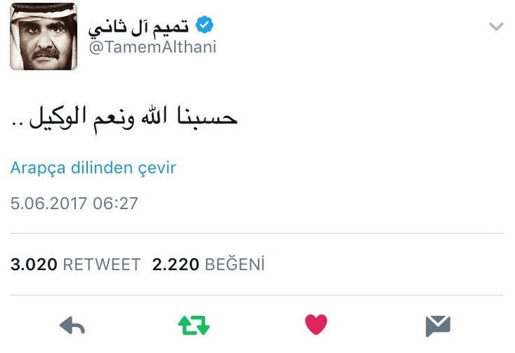 Katar Emiri öyle bir Tweet attı ki...