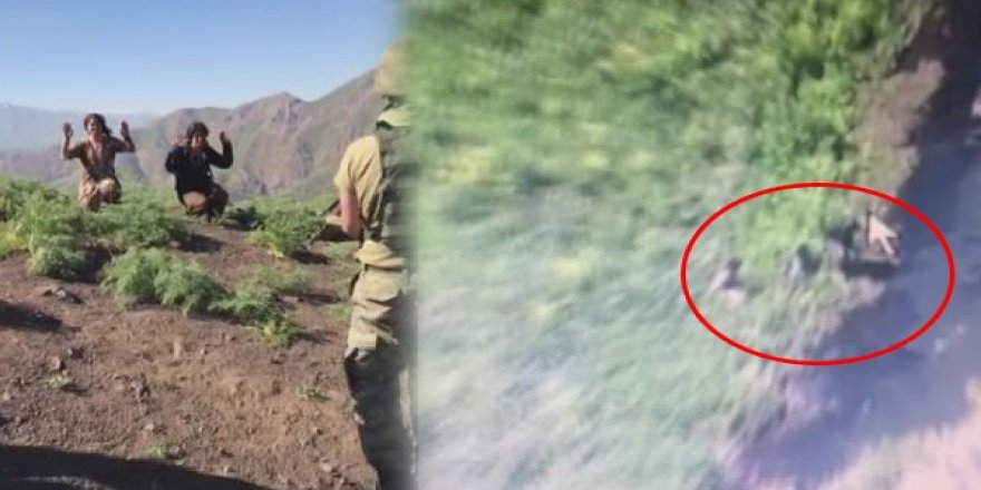 Şemdinli kırsalında teslim olan 4 teröristin görüntüleri