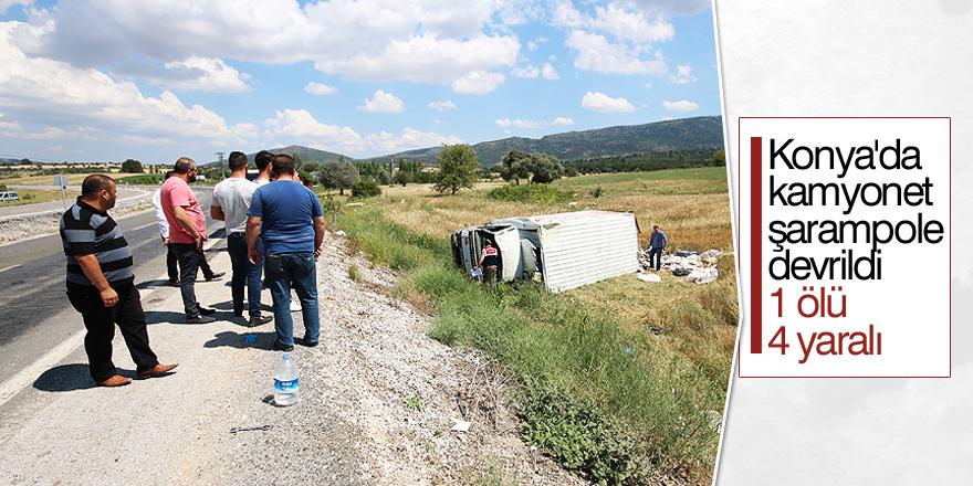 Konya'da kamyonet şarampole devrildi: 1 ölü, 4 yaralı
