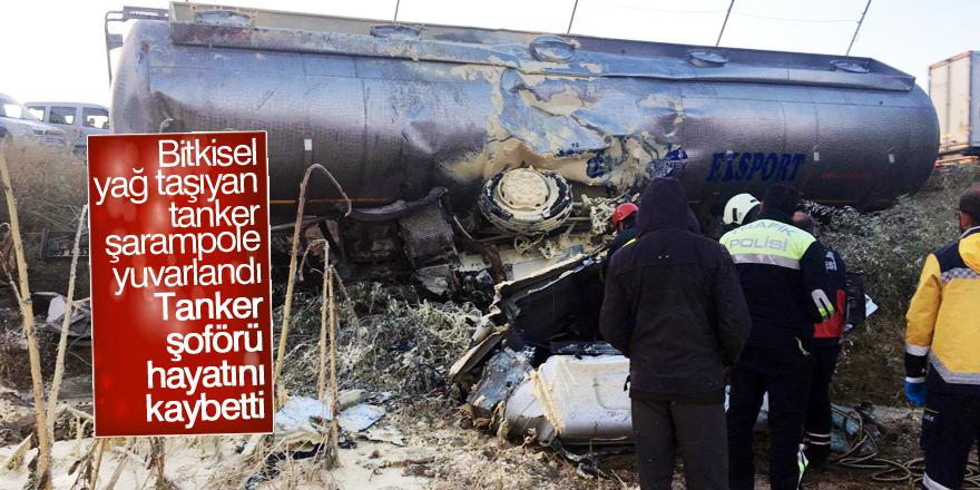 Bitkisel yağ taşıyan tanker şarampole yuvarlandı: 1 ölü
