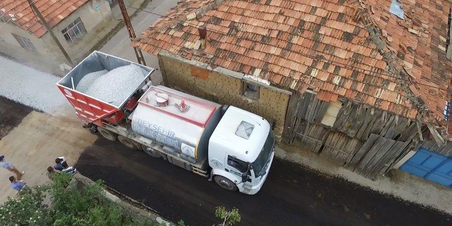 Beyşehir'de asfalt çalışmasında rekor