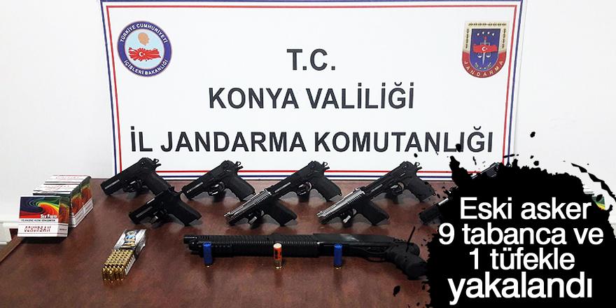 Eski asker, 9 tabanca ve 1 tüfekle yakalandı