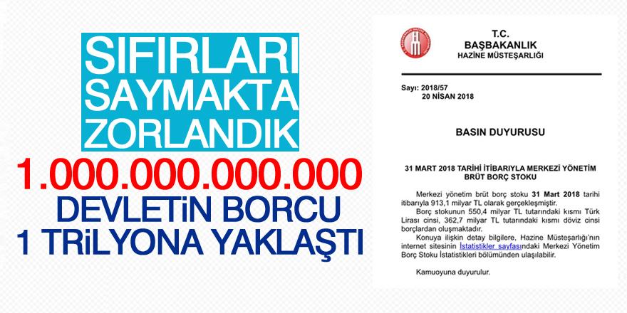 Devletin borcu 1 trilyona yaklaştı