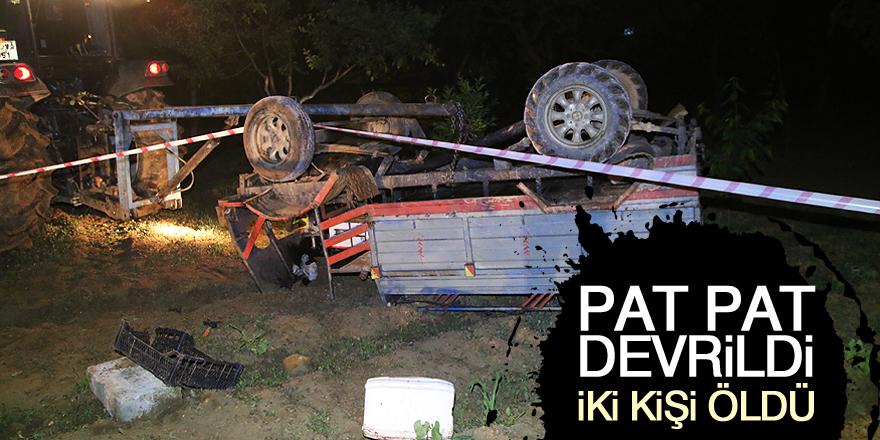 Konya'da tarım aracı devrildi: 2 ölü