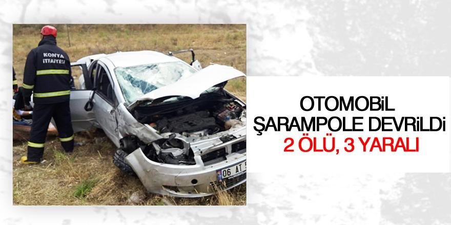 Konya'da otomobil şarampole devrildi: 2 ölü, 3 yaralı