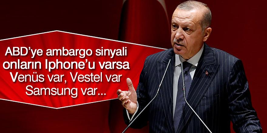 Cumhurbaşkanı Erdoğan'dan Amerikan elektronik ürünlerine boykot sinyali