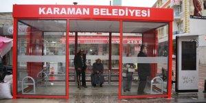 Karaman Belediyesinden kapalı otobüs durağı