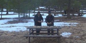 Muhtarlar, yaban hayvanları için ormana yiyecek bıraktı