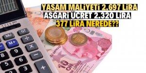 Yaşam maliyeti asgari ücretten 377 lira fazla