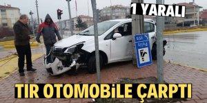 Konya'da tır otomobille çarpıştı: 1 yaralı