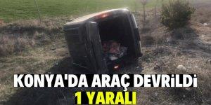 Konya'da hafif ticari araç devrildi: 1 yaralı