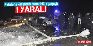 Polislerin kullandığı otomobiller çarpıştı: 1 yaralı
