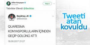 """Atiker Konyaspor'dan Beşiktaş'a yanıt: """"Tebrikler efendi"""""""