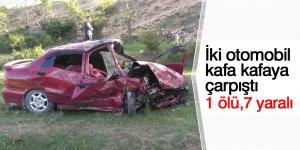 İki otomobil kafa kafaya çarpıştı: 1 ölü, 7 yaralı