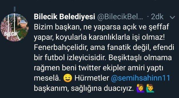 Bilecik Belediyesinin paylaşımı Fenerbahçe taraftarlarının tepkilerine neden oldu