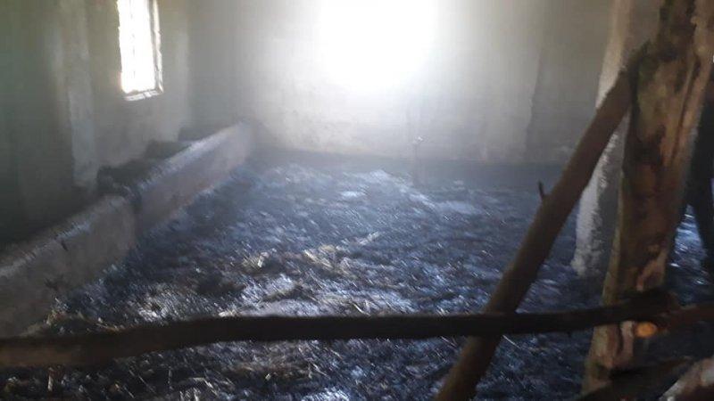Ahır yangını söndürüldü