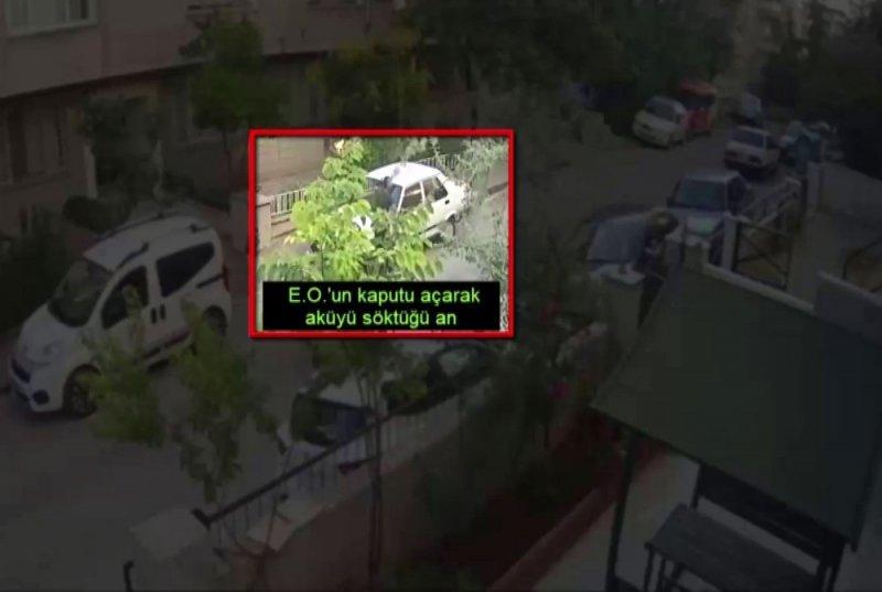 Akü hırsızları güvenlik kameralarına yakalandı