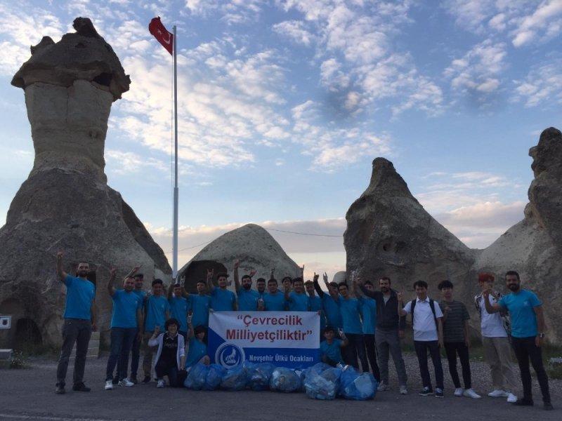 Nevşehir Ülkü Ocakları, Kapadokya'da temizlik kampanyası başlattı