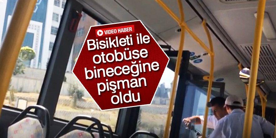 Bisikleti ile otobüse bindi olanlar oldu!