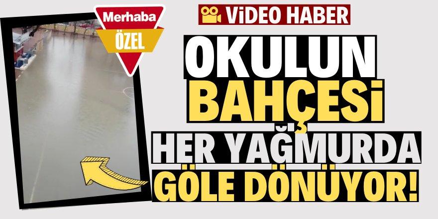 Konya'da ilkokulun bahçesi göle döndü!