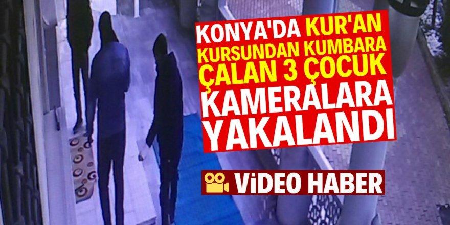 Konya'da kumbara çalan çocuklar kameralara yakalandı