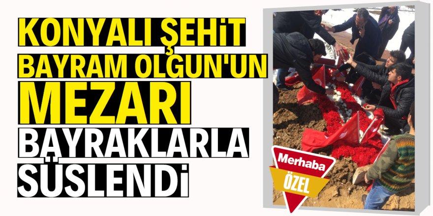 Şehit Bayram Olgun'un mezarını bayraklarla ve çiçeklerle süslediler