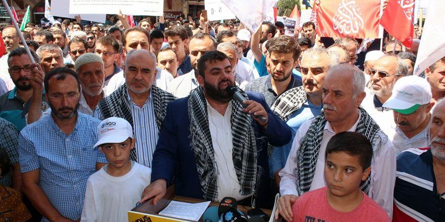 Aksa'daki zulüm Konya'da telin edildi