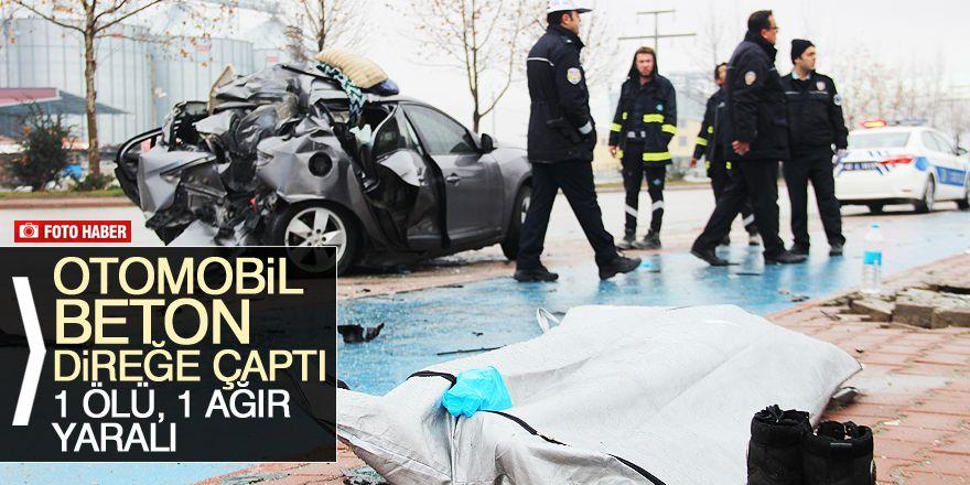 Kontrolden çıkan otomobil beton direğe çaptı: 1 ölü, 1 ağır yaralı